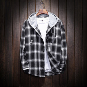 Mens Plaid Loose Hooded Shirt