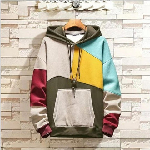 Mens Plus Velvet Colorblock Pullover Sweater Hooded
