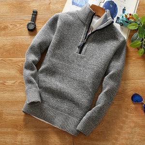 Men's casual high collar pure color loose sweater coat