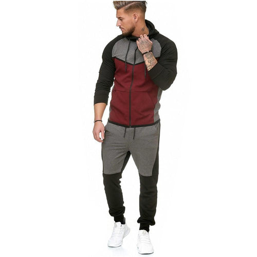 Stitching Fleece Suit Tide Outdoor Sports Casual Color Matching Suit