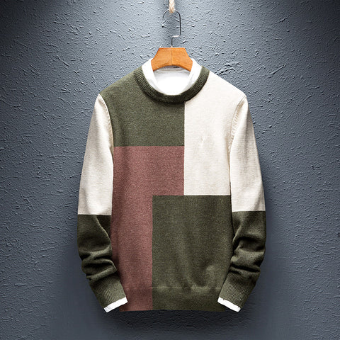 Mens Simple Colorblock Round Collar Sweater