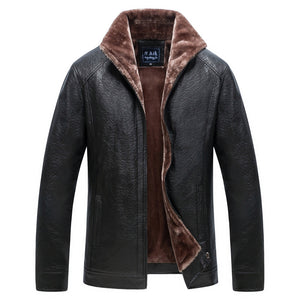 Middle-Aged Men's Casual Fleece Leather Jacket
