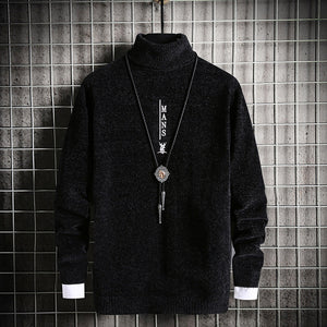 Mens High Collar Warm Sweater Youth Sweater