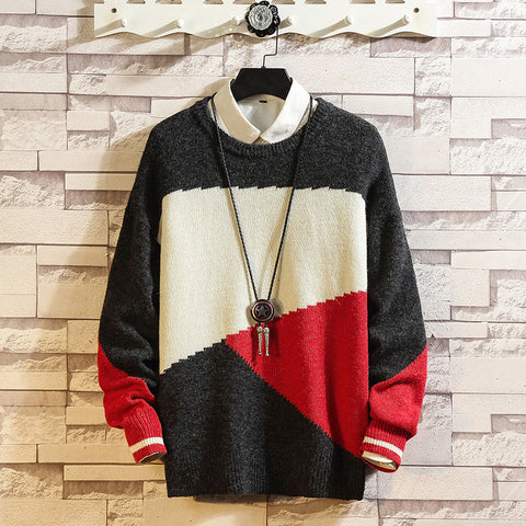 Mens Color Matching Large Size Sweater
