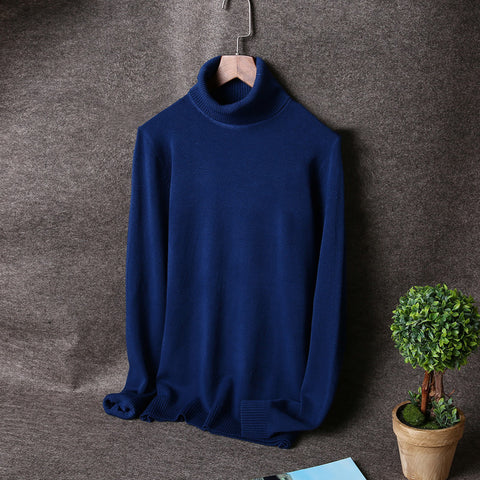 Men's Solid Color Turtleneck Slim Pullover