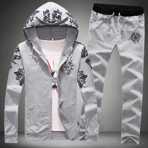 Men's Thin Fashion Slim Print Casual Two-Piece Suit