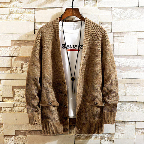 Mens Loose Long Sleeve Knit Sweater