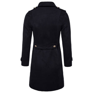 Men's Vintage Turndown Collar Double-breasted Pure Color Midi Coat