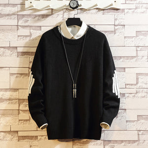 Casual loose contrast round neck sweater