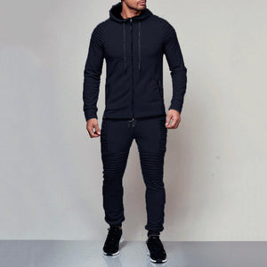 New Men's Casual Solid Color Sport Suit