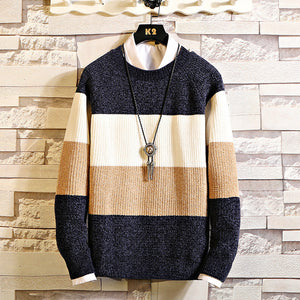 Mens Round Neck Colorblock Pullover Sweater