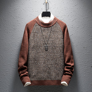 Round neck youth color matching casual sweater