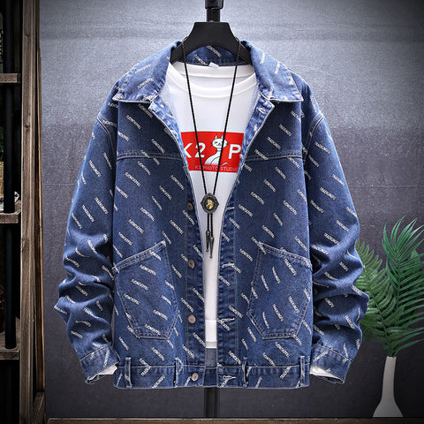Streetwear Printed Color Stand Collar Jacket