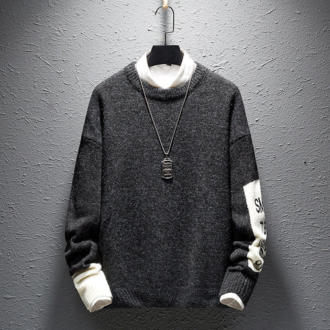 Casual round neck embroidery sweater