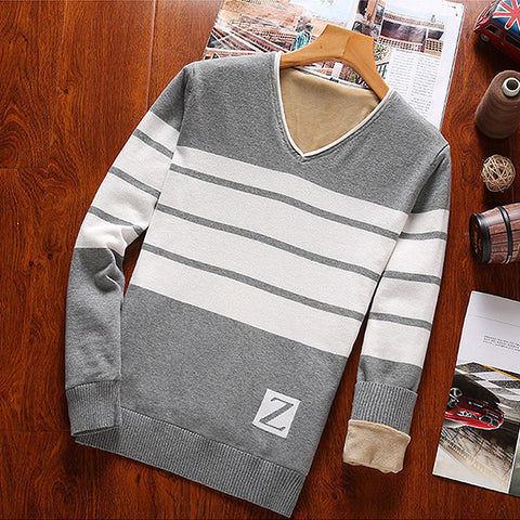 Men's casual v neck contast color loose sweater