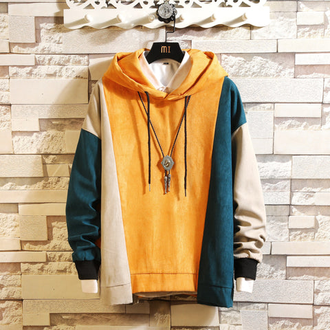 Men's fashion hooded stitching long-sleeved Sweatshirt