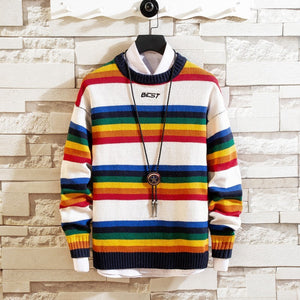 Casual round collar long sleeve stripe spell color base sweater