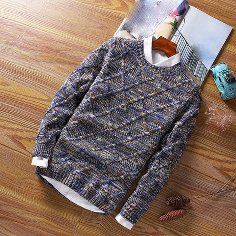 Men's Diamond Round Collar Sweater