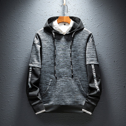 Men Hooded Fake Two-piece Casual Sweatshirt