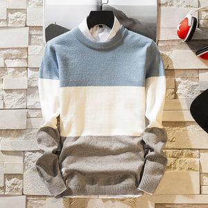 Casual round neck long sleeves colouring striped sweater