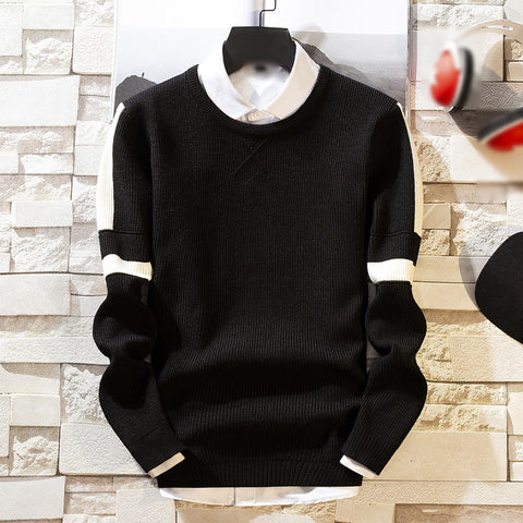 Trend round neck color long sleeve knit sweater