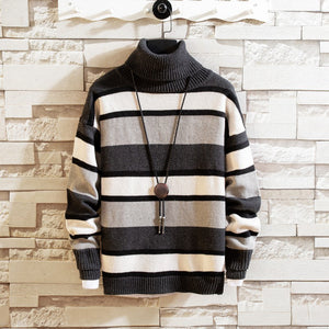 Casual stripe spells color loose long sleeve men's sweater