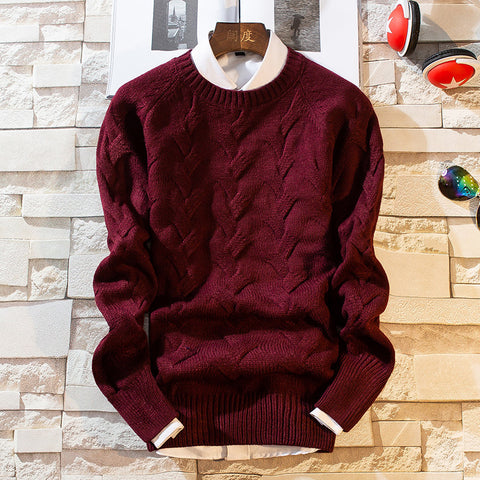 Mens Thick Wool Thick Jacquard Sweater