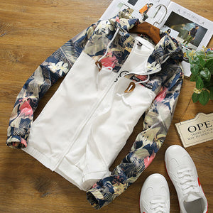 Men's fashion sports floral zip hooded jacket