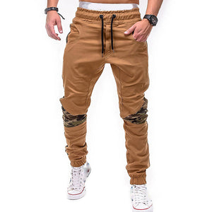 Men's fashion camouflage stitching casual feet pants
