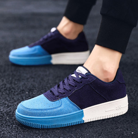 Men Simple Color Matching Round Toe Sneakers