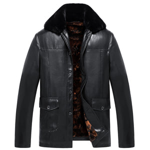 Middle-Aged Men's Thickening Fur Collar Leather Jacket