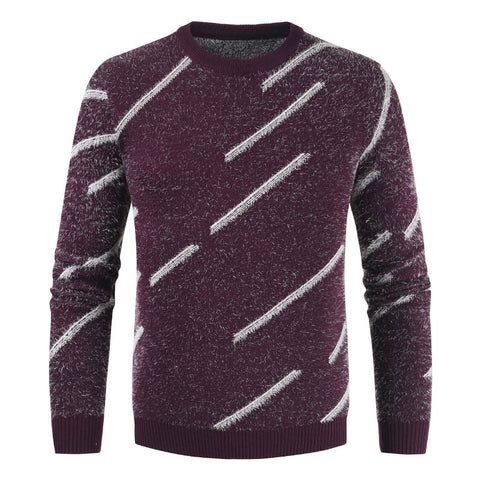 Round neck slim long sleeve men's sweater