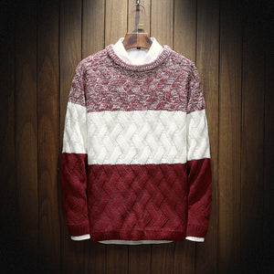 Men Casual Round Neck Color Matching Sweater