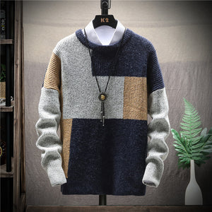 Mens Fashion Loose Round Neck Pullover Sweater Coat