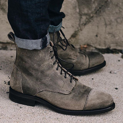 Men Fashion High-top Lace-up Plain Boots
