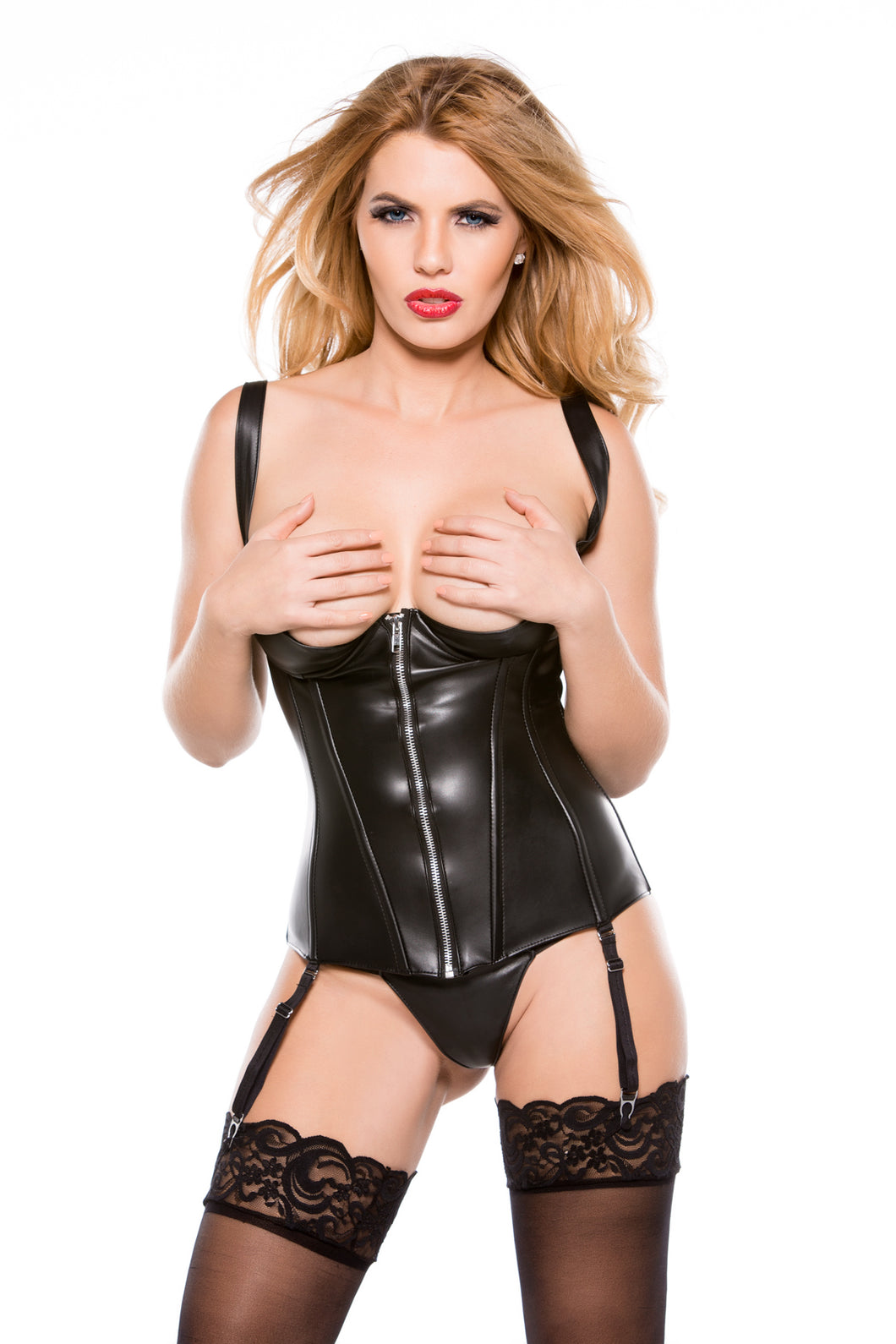 Faux Leather 1/4 Cup Corset