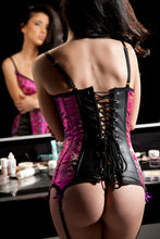 Load image into Gallery viewer, Leather And Brocade 'Elle' Corset