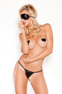 Wet Look, Blindfold, G-string & Heart Pasties