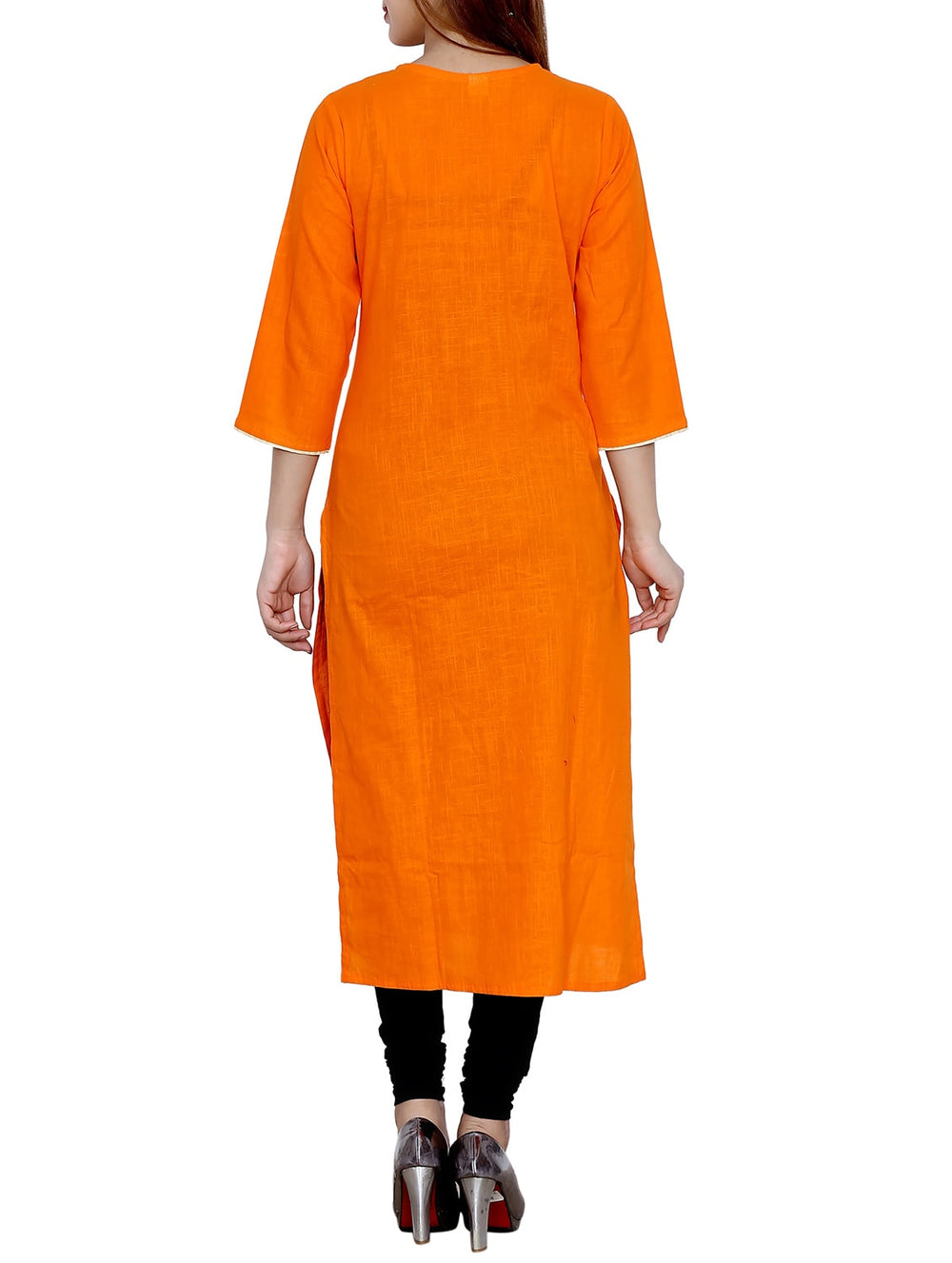 orange cotton straight kurta