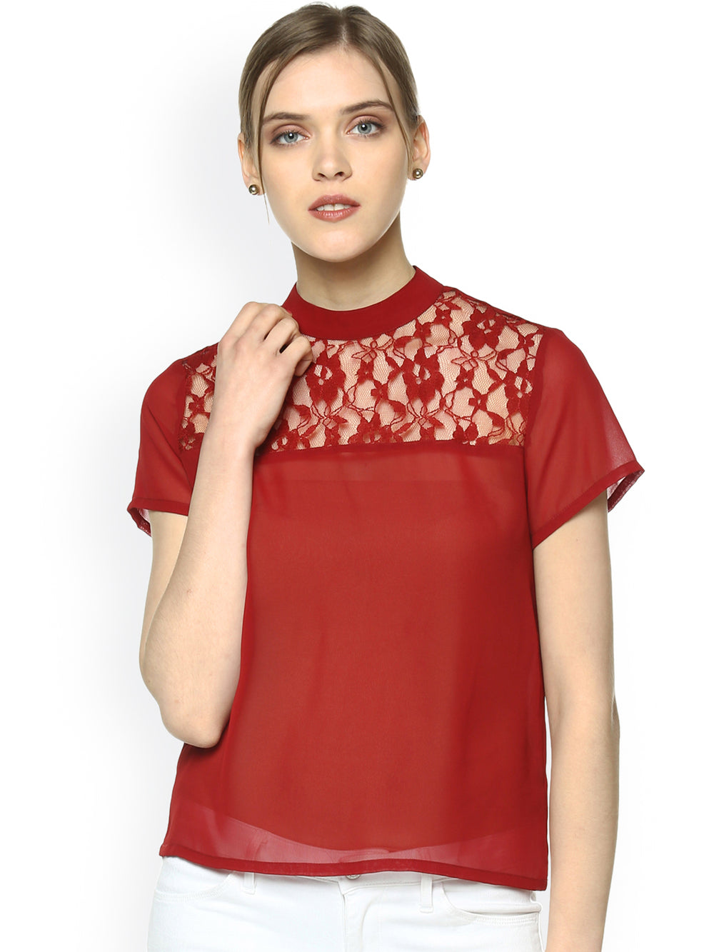 Besiva Women Maroon Solid Top with Lace Detail