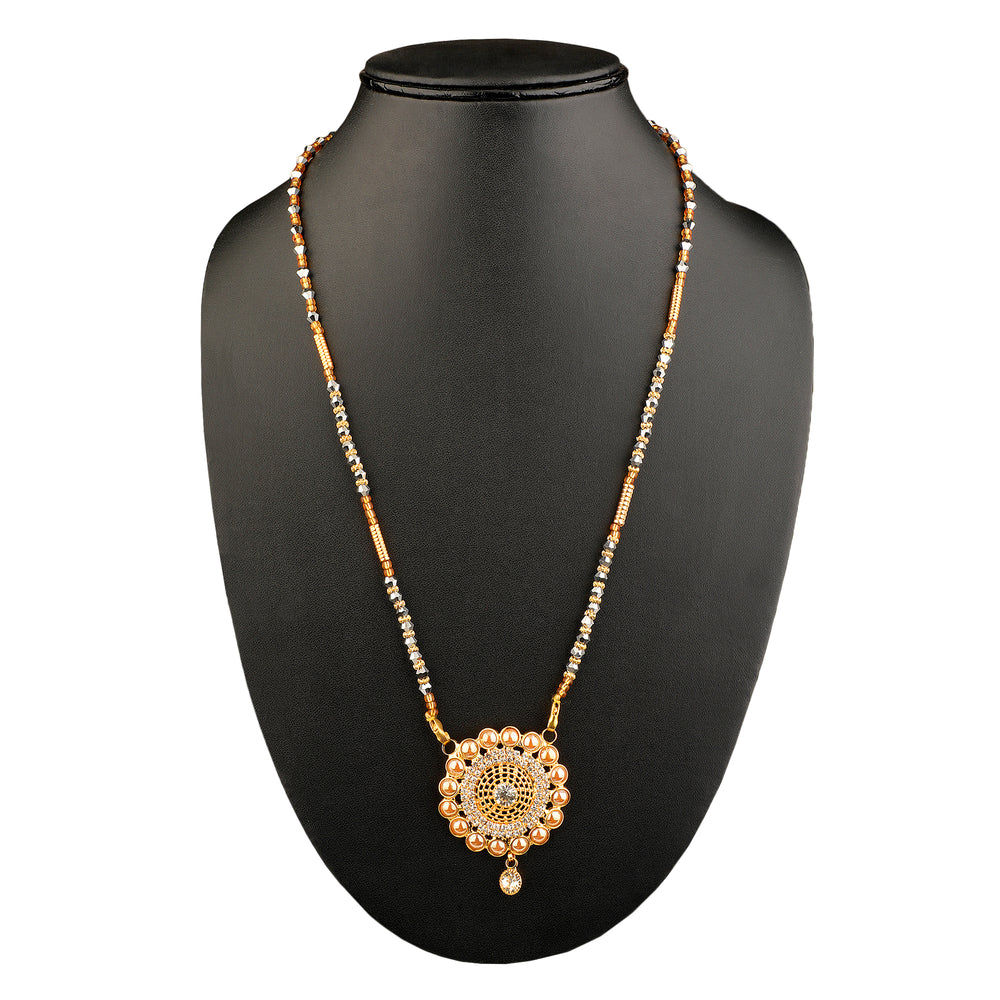 Gold-Plated & White CZ Stone-Studded Mangalsutra
