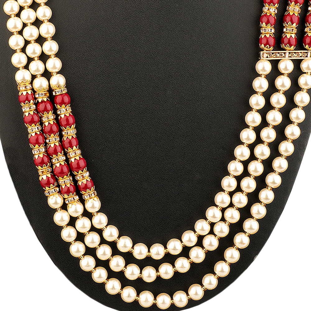 Gold-Plated Red & Golden Faux Ruby & Emerald Jewellery Set