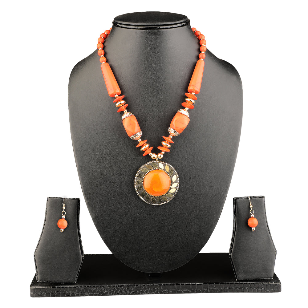 Gold-Plated Orange & Yellow Stone-Studded Beaded Enamelled Sustainable Jewellery Set