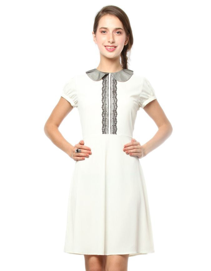 Peter Pan Collar Dress Cream