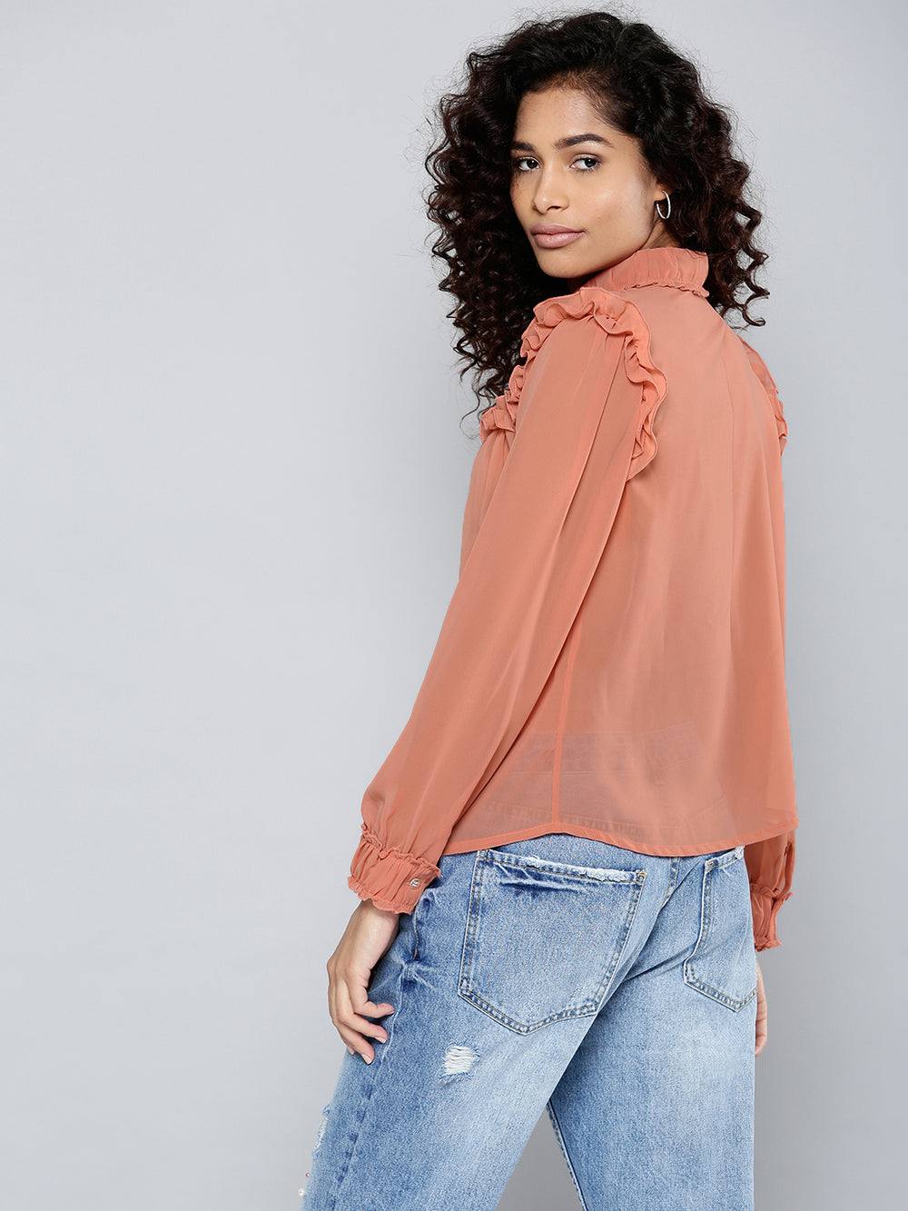 Besiva Women Peach-Coloured Semi-Sheer Shirt Style Top