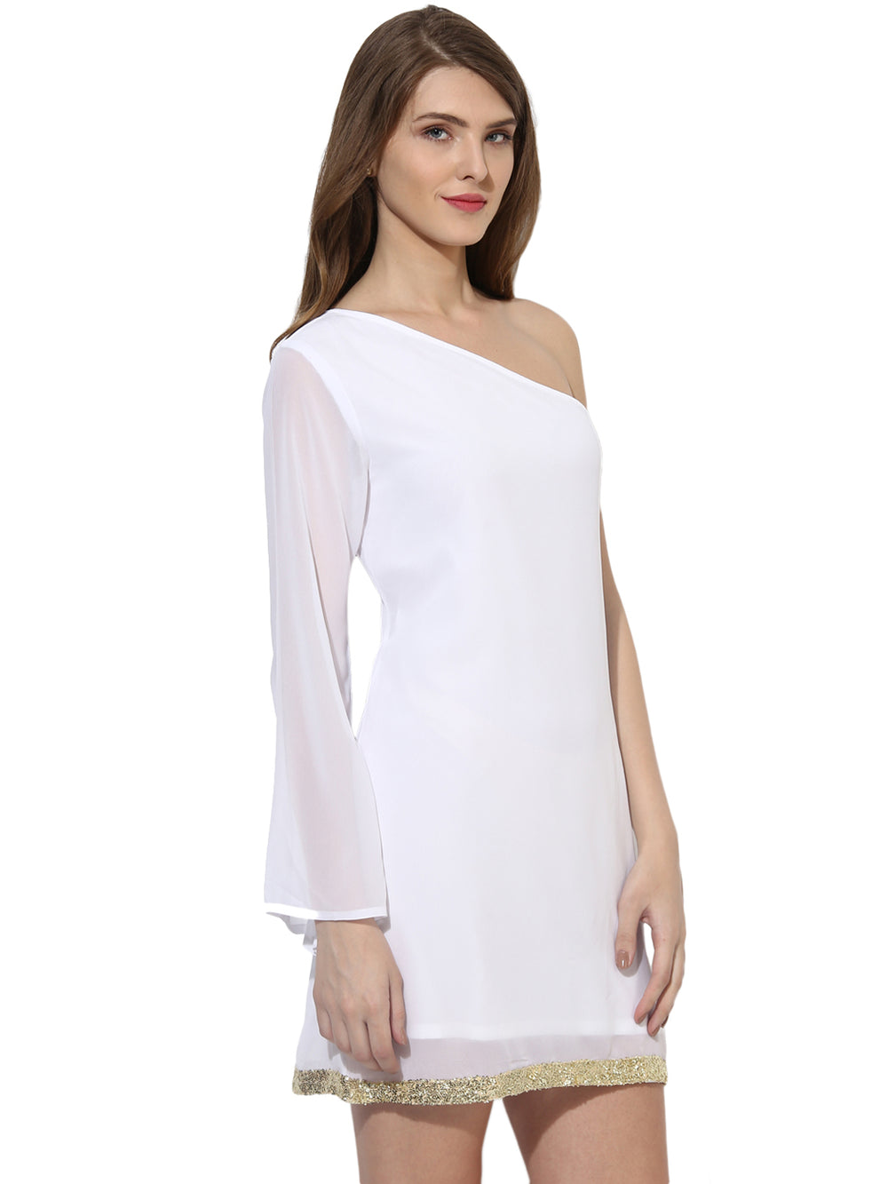 Besiva Women White Solid A-line One-Shoulder Dress
