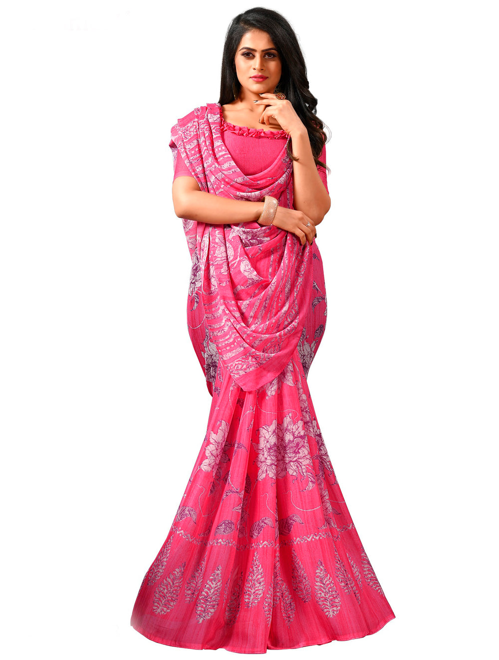 Roop Kashish Women Magenta Party Wear Georgette Printed Saree And Georgette Blouse Material_RKAM8072