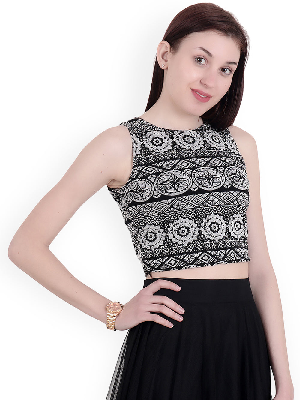 SCORPIUS Women Black Printed Crop Top