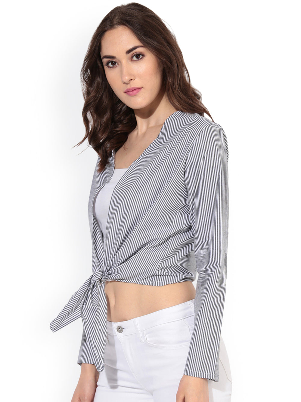 Besiva Charcoal Grey & White Striped Open-Front Shrug