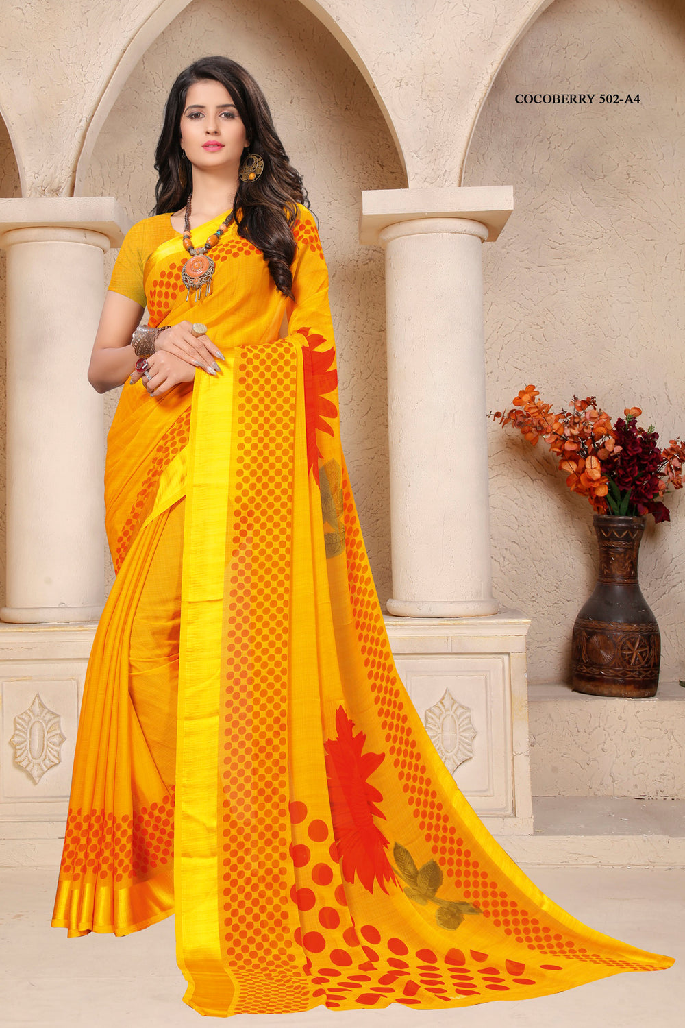 Roop Kashish Women Yellow Party Wear Floral Printed Chiffon Saree And Chiffon Blouse Material._RKRU502A4
